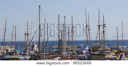 Masts of yachts