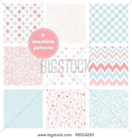 Vector Set Of Nine Graceful Seamless Patterns - Chevron, Flowers, Stars, Dots, Swirls, Geometric.