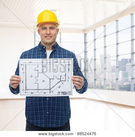 repair, construction, building, people and maintenance concept - smiling male builder or manual worker in helmet with blueprint over empty flat background