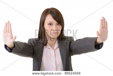 Business woman reject you by hand sign, closeup portrait on white background.