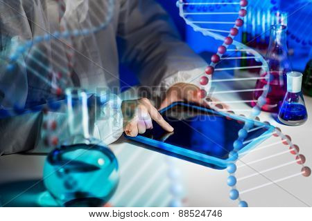 science, chemistry, medicine, technology and people concept - close up of young female scientist with tablet pc computer making test or research in laboratory over dna molecule structure