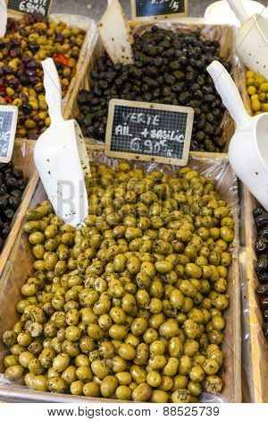 olives, market in Nyons, Rhone-Alpes, France