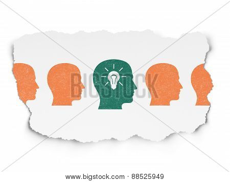 Finance concept: head with light bulb icon on Torn Paper background