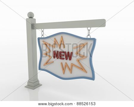 New Message Signboard On Post With Chains On White Background