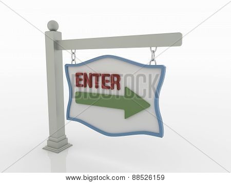 Enter Message Signboard On Post With Chains On White Background