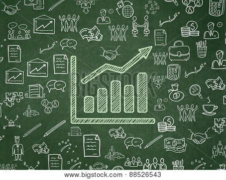 Business concept: Growth Graph on School Board background