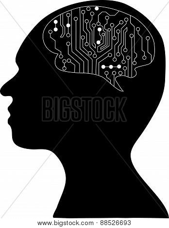Technological Brains . Vector Eps10.silhouette Of The Head And  Brain. Process Of Human Thinking. Th