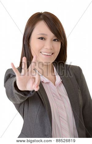 Businesswoman give you an Ok sign, closeup portrait on white background.