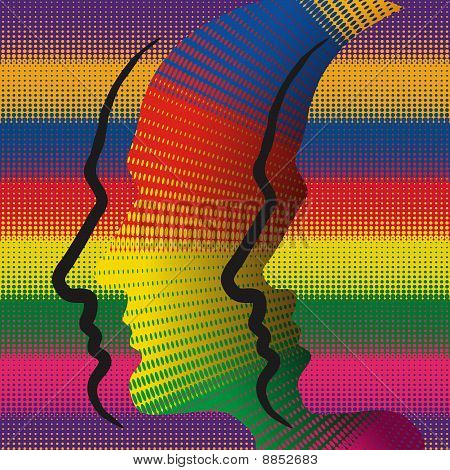 Abstract conceptual illustration with colorful human profiles