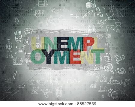 Business concept: Unemployment on Digital Paper background
