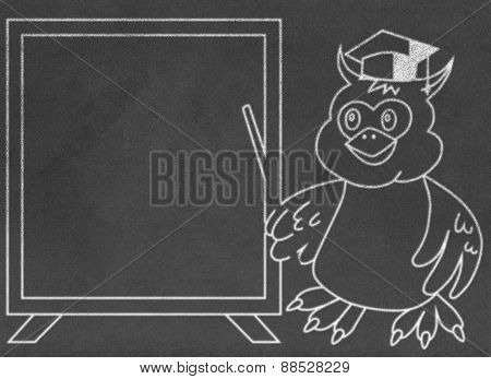 Wise Owl Teacher on Chalkboard