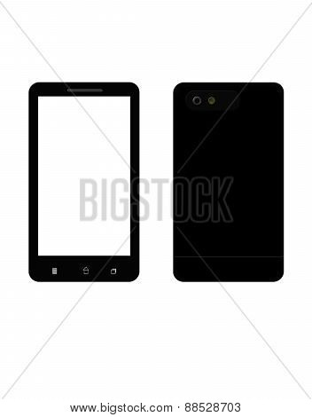 Black Smart Phone Isolated