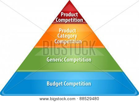 business strategy concept infographic diagram illustration of competition levels pyramid