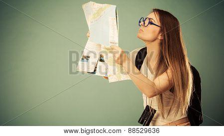 Tourist Woman Sunglasses Read Map