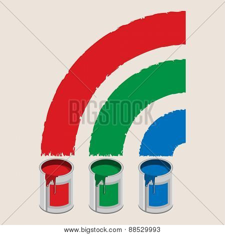 Cans of paint and rainbow. Icon. Illustration.