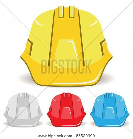 Safety helmet isolated on white background. Set. illustration.