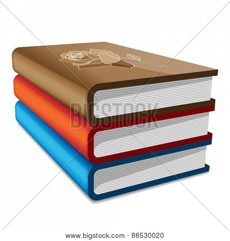 Books stack isolated on white background. illustration