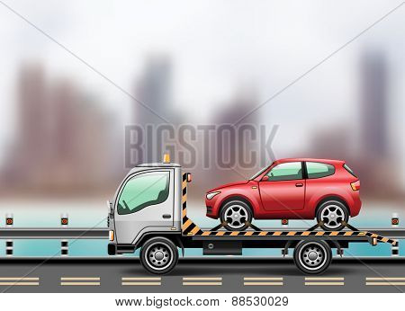 Tow truck loaded up the car against the background of the modern city to the beach.  illustration.