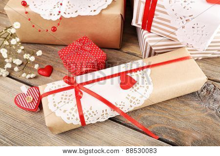 Handmade gifts on Valentine Day, close-up