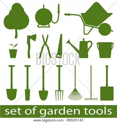 Set of icon garden tools. illistration.