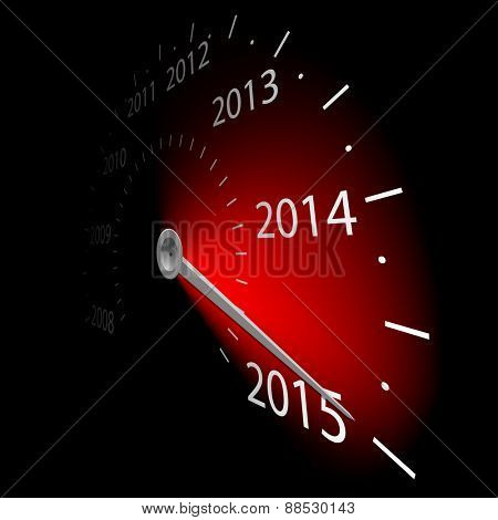 Speedometer with the date 2014. illustration.