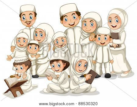 Large muslim family in white costume