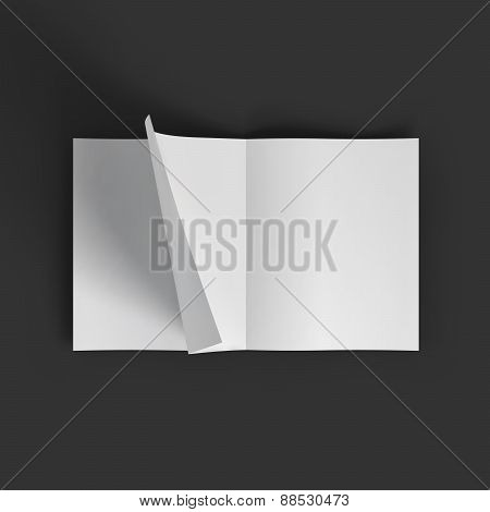 White blank magazine spread. Business mockup template.