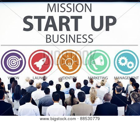 Mission Start Up Business Launch Team Success Concept