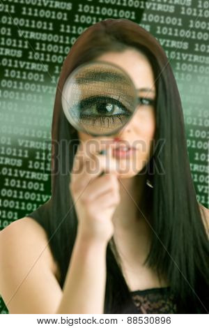 Woman Looking Through A Loupe
