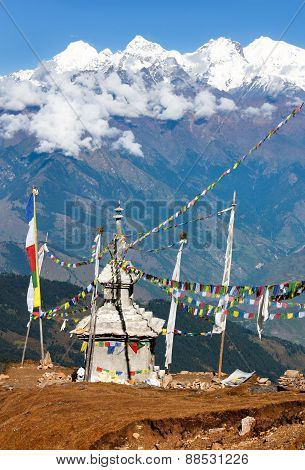 Ganesh Himal With Stupa And Prayer Flags - Nepal