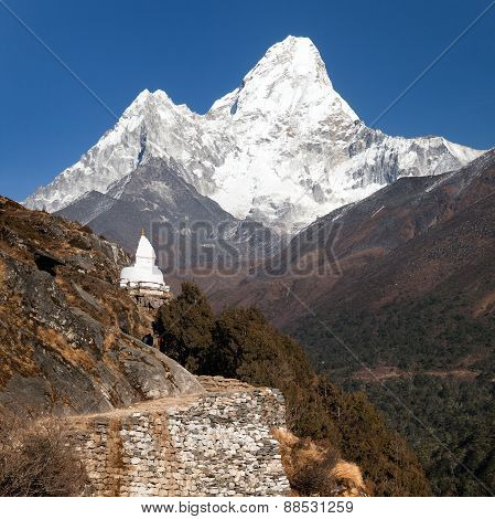 Mount Ama Dablam With Stupa Near Pangboche Village