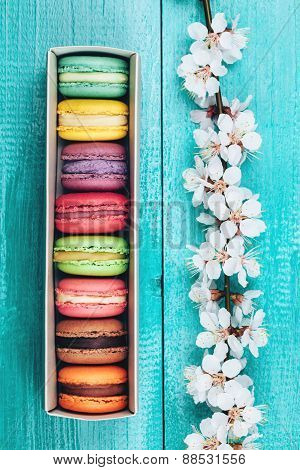 Colorful macaroons in paper box