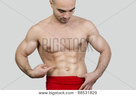 Man Showing Abs.