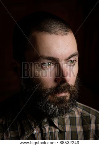 Portrait of a bearded man wearing a plaid shirt
