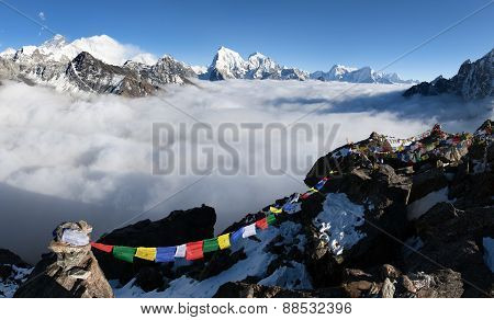 Panoramic View Of Mount Everest, Lhotse And Makalu