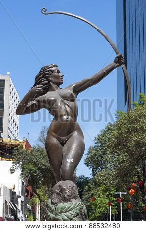 Diana The Hunter Bronze Statue In Mexico City