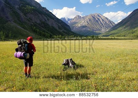 View From Altay Range - Man With Backpack On Meadow