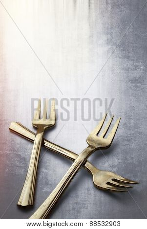 Old And Tarnished Gold Forks