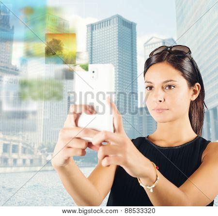 Woman photographs the city