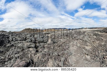 Inhospitable dramatic volcanic landscape at Krafla geothermal area, Iceland