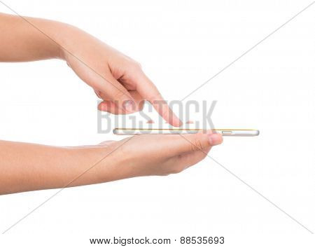 Female hand holding gold mobile phone smartphone mock up with blank screen isolated on white background  ( with 2 layer clipping path : Screen,finger)