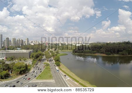 Aerial view of Ibirapuera Park in Sao Paulo, Brazil