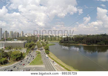 Aerial view of Ibirapuera Park in Sao Paulo, Brazil
