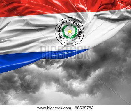 Paraguayan waving flag on a bad day