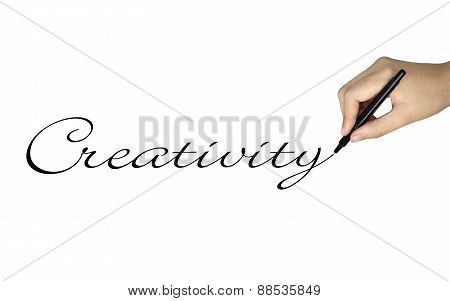 Creativity Word Written By Human Hand