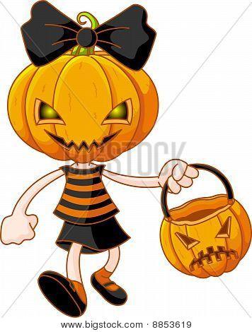 Pumpkin Head Girl With Halloween Bag