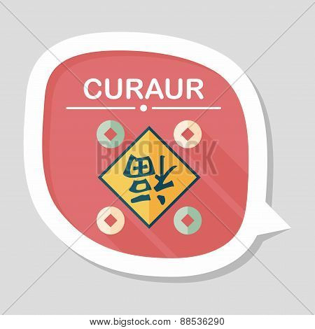 Chinese New Year Flat Icon With Long Shadow,eps10, Chinese Couplets With Chinese Word Fu Means