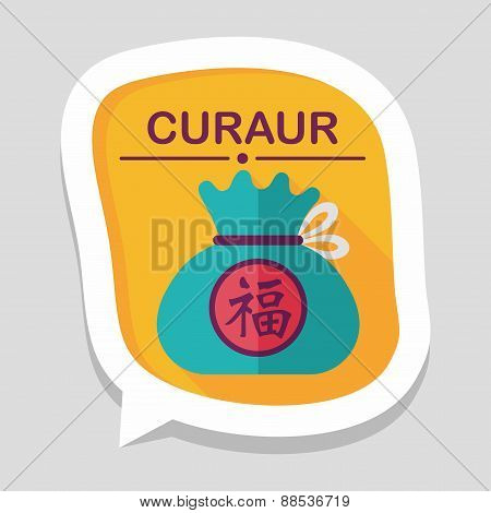 Chinese New Year Flat Icon With Long Shadow,eps10, Chinese Lucky Gifts, stylish colors of vector ill