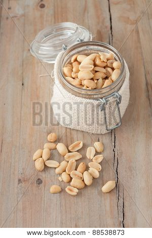 Raw Peanuts In Glass Jar