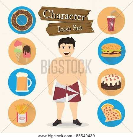 Chubby Man Character Icon Set Vector
